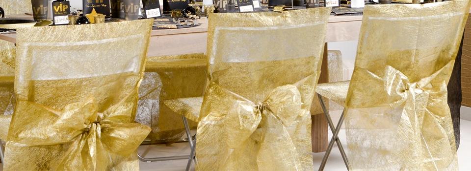 Déco de salles Housse de chaise dorée