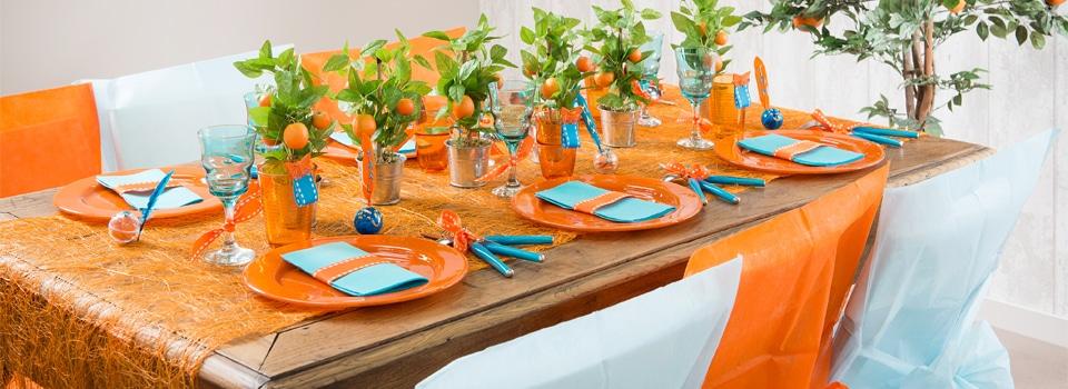 Table et déco Orange et Turquoise