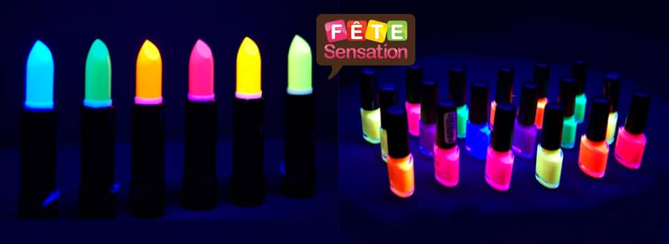 maquillage fluo et phosphorescent cr me rouge l vre vernis ongles mascara fard. Black Bedroom Furniture Sets. Home Design Ideas