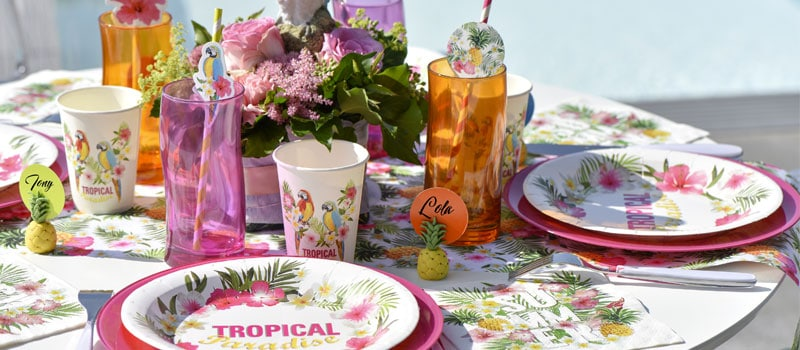 décoration de table tropical