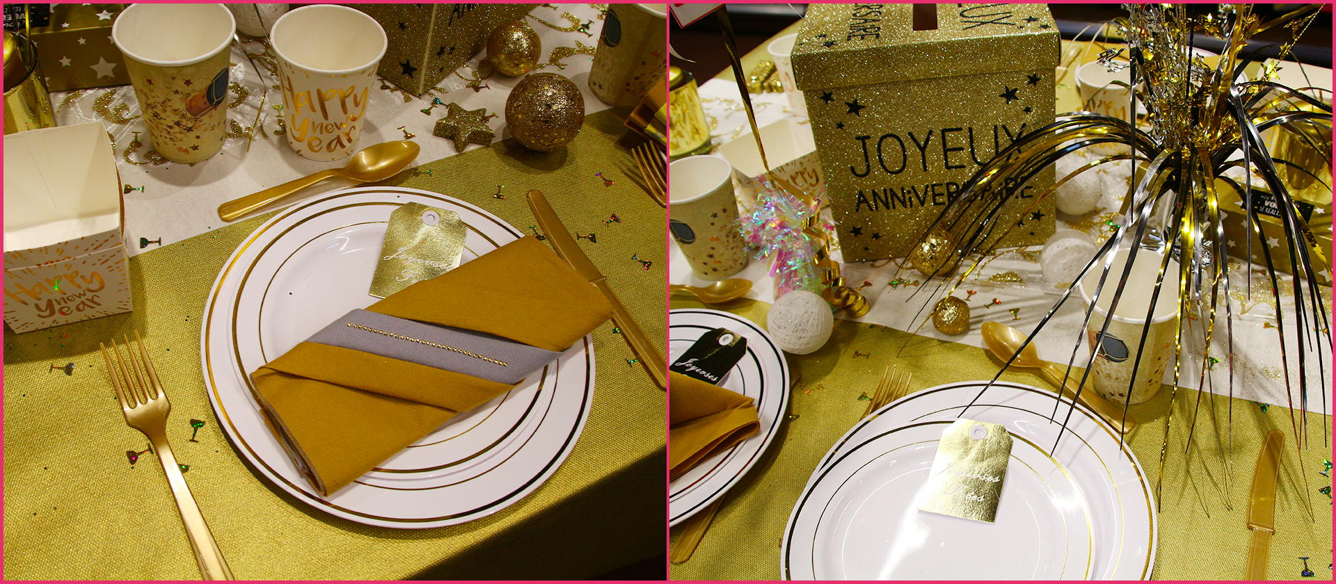 Table anniversaire chic or