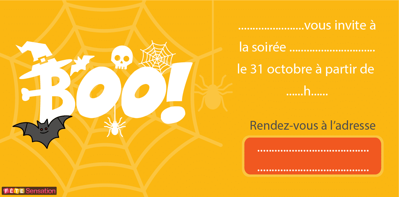 carte invitation organiser fete halloween